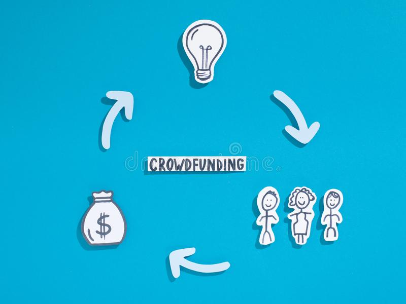 People Crowdfunding in profit business to raise money. Paper people Crowdfunding in profit business to raise money, design, copy space royalty free stock image