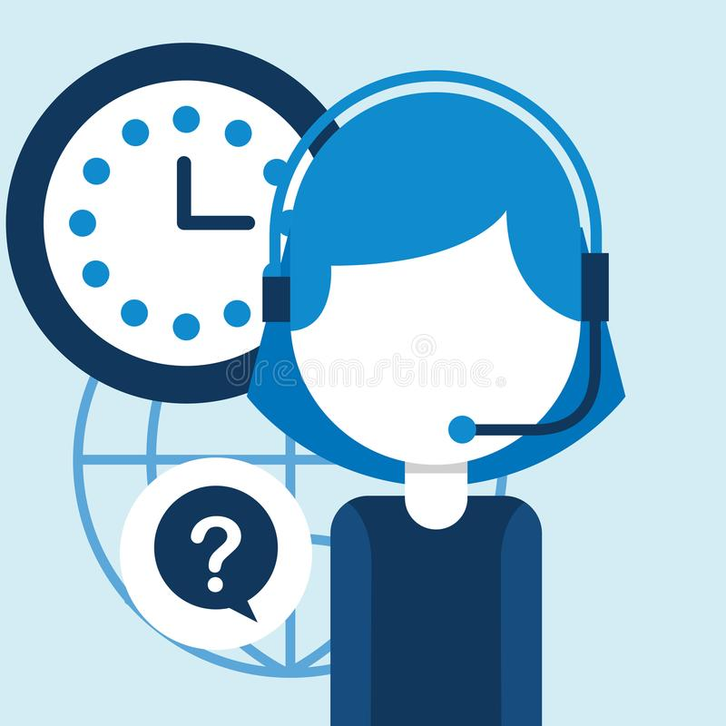 People customer service. Woman agent call center clock questions mark customer service vector illustration vector illustration
