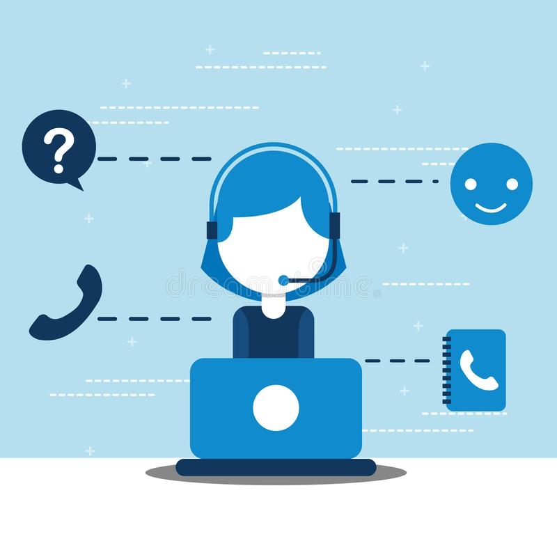 People customer service. Woman dispatcher call center with laptop customer service vector illustration royalty free illustration