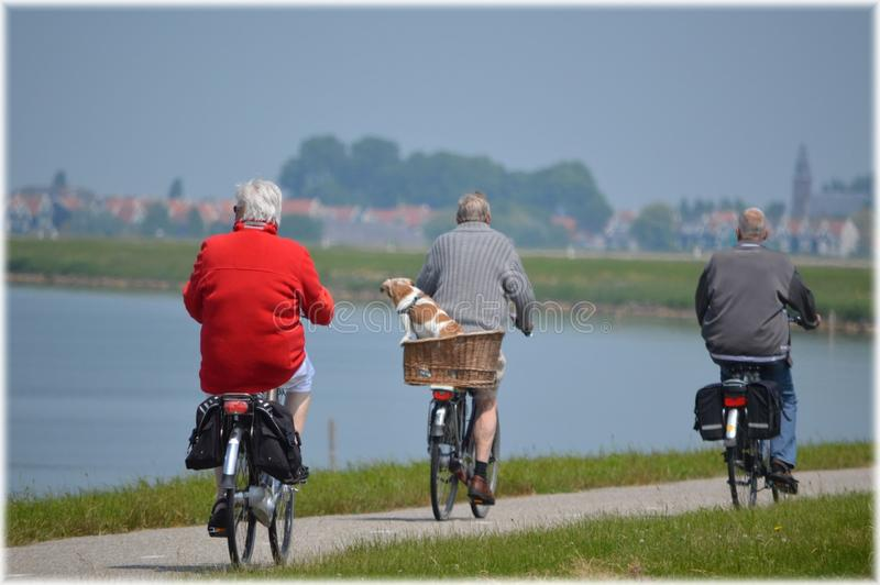 People cycling by lake