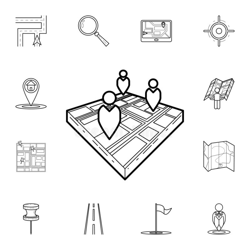 People on 3d map icon. Detailed set of navigation icons. Premium graphic design. One of the collection icons for websites, web. Design, mobile app on white royalty free illustration