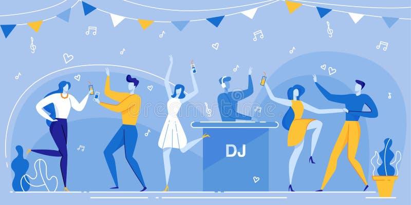 People Dance DJ Mixing Music Nightclub ilustração do vetor