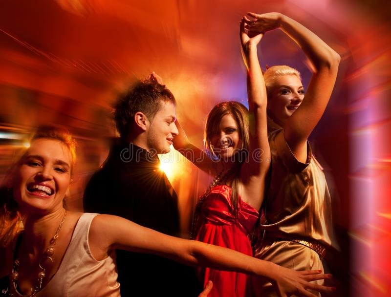 People dancing. In the night club stock photography