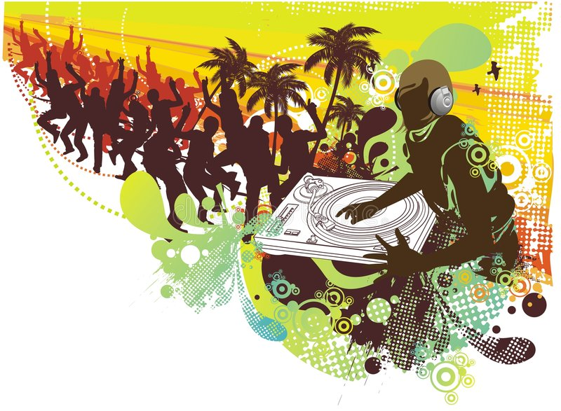 People dancing in the summer vector illustration