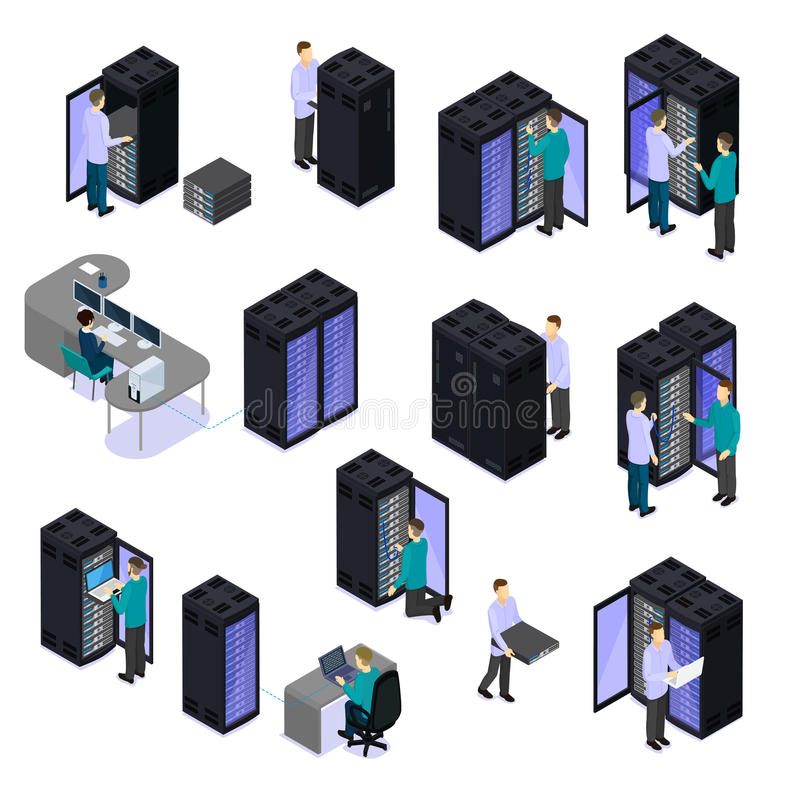 People In Data Center Isometric Set royalty free illustration