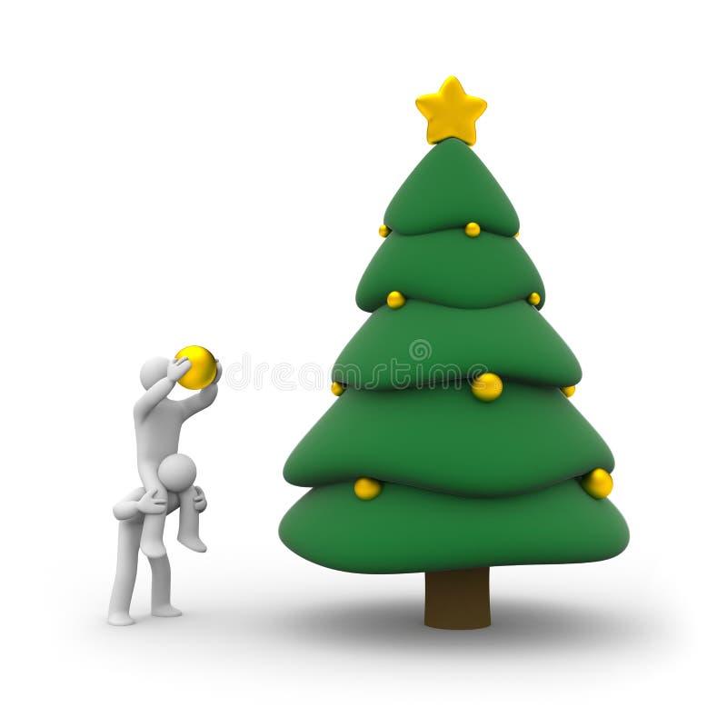 Download People Decorate Christmas Tree Stock Illustration - Illustration: 11800583