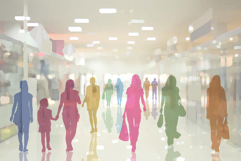 People in the department store stock illustration