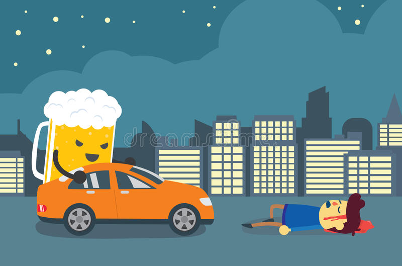 People died in drunk driving crashes. vector illustration