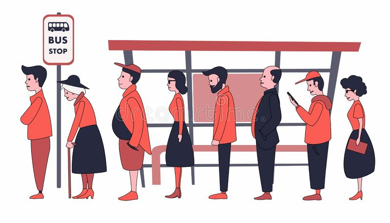 People of different ages standing in line at the bus stop. vector illustration