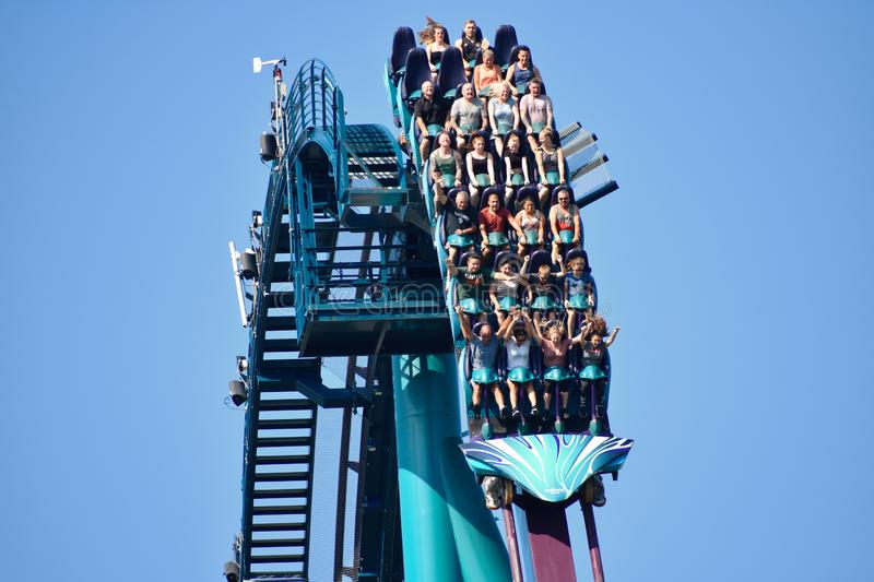 People of different ages thrilled and scared by fast descent riding Mako Roller Coaster at Seaw stock photo