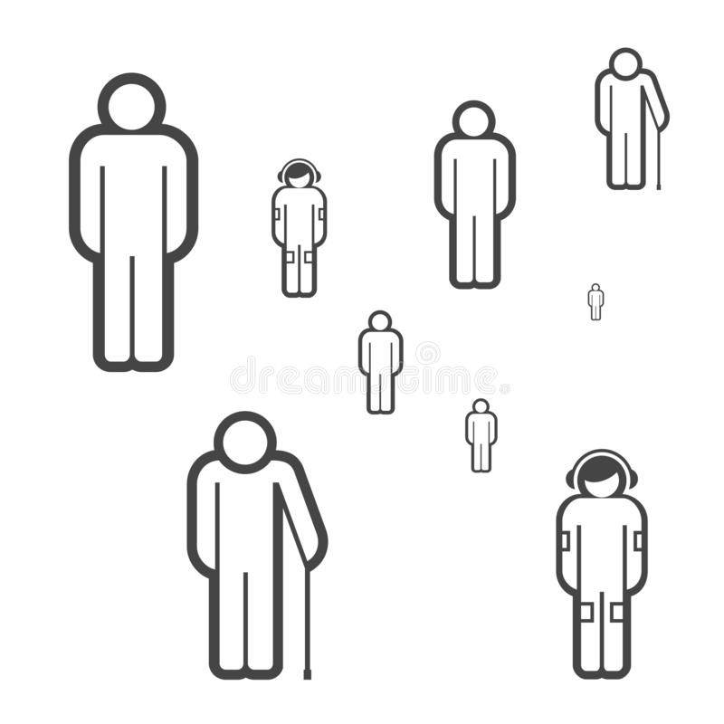 People of Different Ages Vector Icons. Society Concept. Group of People Made of Simple Line Icons. People of Different Ages Vector Icons. Group of People Made of royalty free illustration