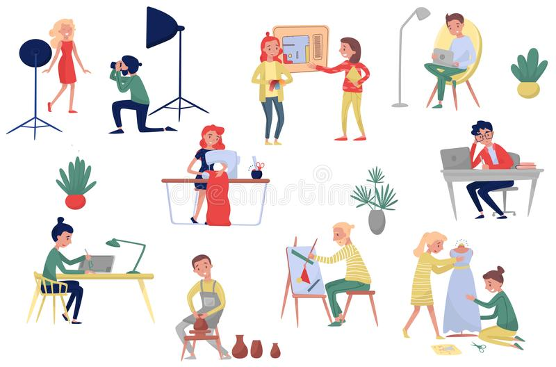 People of different artistic professions. Photographer and model, fashion and interior designers, freelancers and royalty free illustration