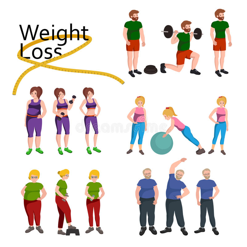 People with different body mass. Weight loss people, before and after weight loss, old and young people doing exercise Healthy fitness and sport family stock illustration