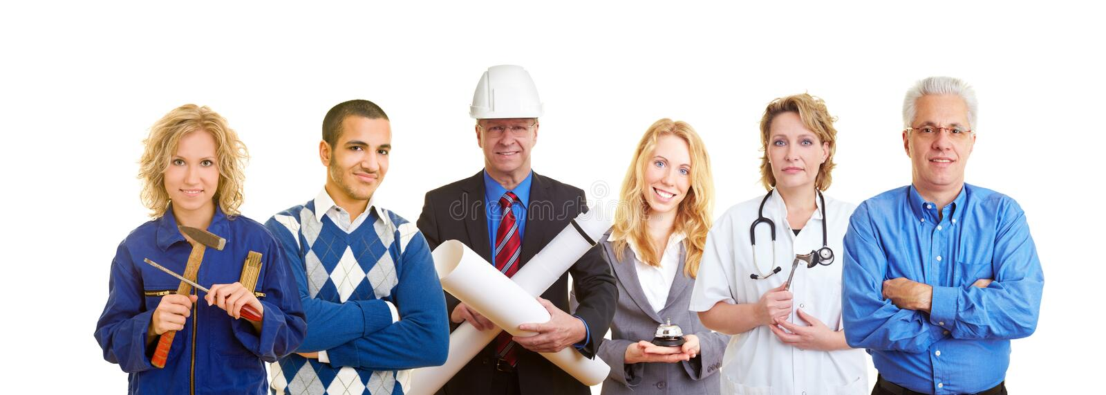 People with different occupations. Group of happy business people with different occupations royalty free stock photography