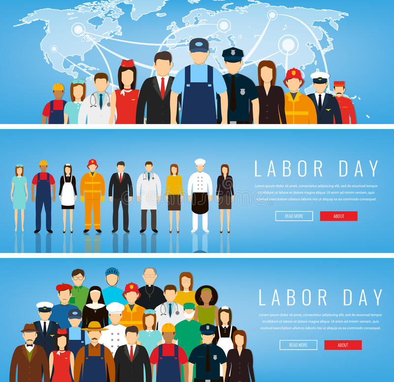 People of different occupations. Professions set. International Labor Day. Concept website template. Vector illustration royalty free illustration