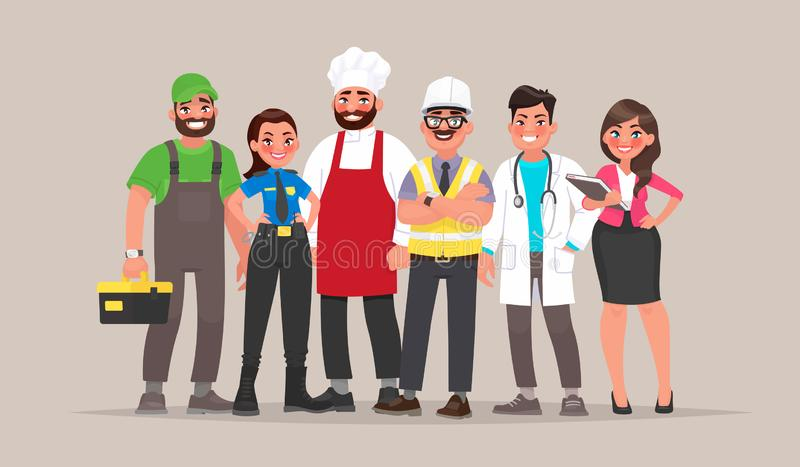 People of different professions. Builder, female police officer, cook, engineer, doctor and teacher royalty free illustration