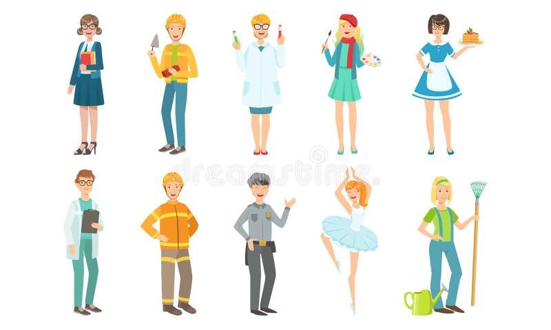 People of Different Professions Set, Teacher, Builder, Scientist, Artist, Doctor, Fireman, Policeman, Ballerina vector illustration
