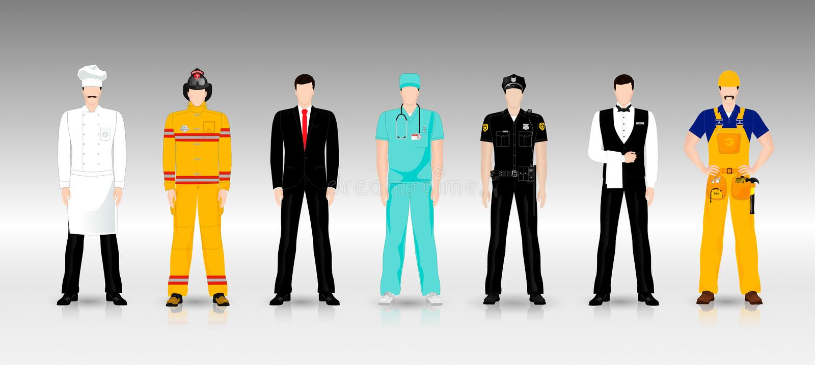People of different professions in working clothes stock illustration