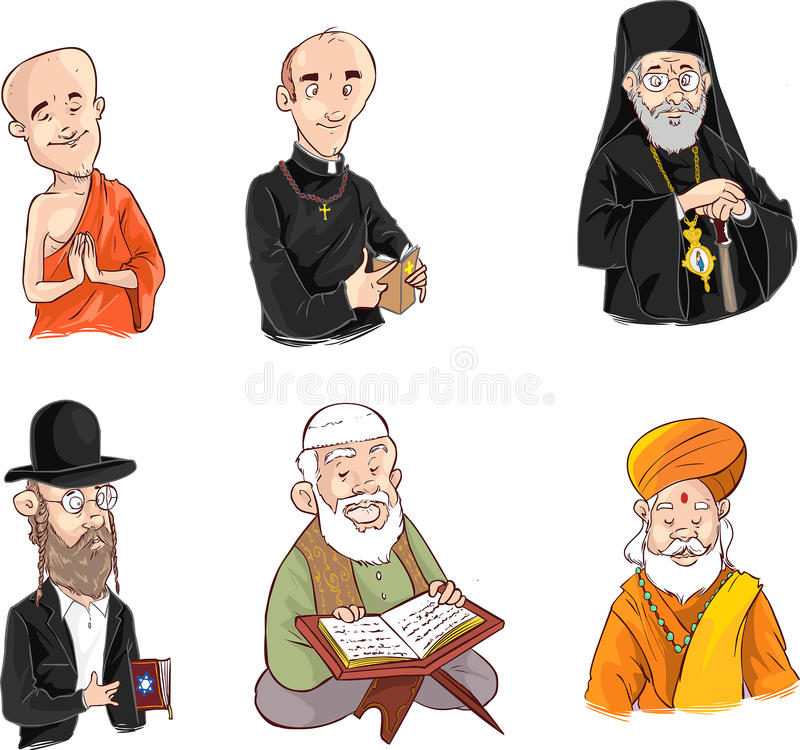 People of different religion in traditional clothing. Islam, judaism, buddhism, orthodox, catholic, hinduism illustration. A vector image illustration (lPeople stock illustration