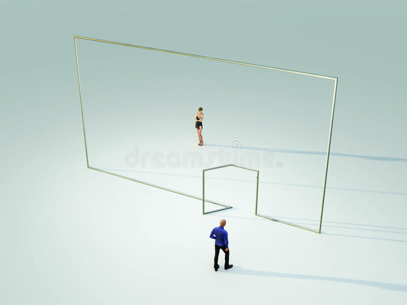 Download People On Different Sides Of The Wall Stock Illustration - Image: 22027928