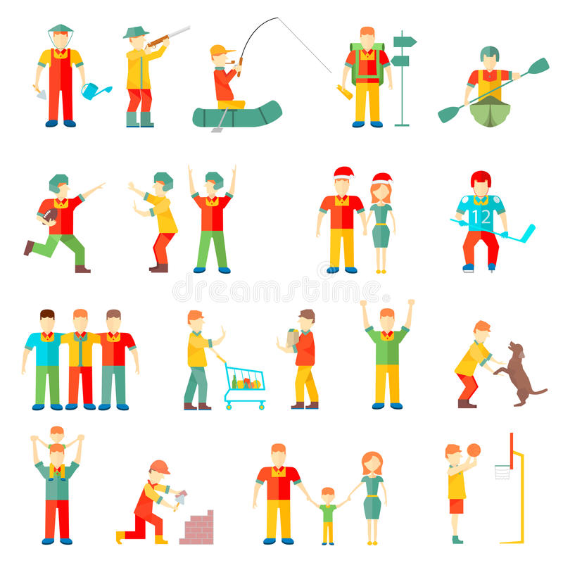 People in different situations friends family couple hobby friendly relationship sport health royalty free illustration