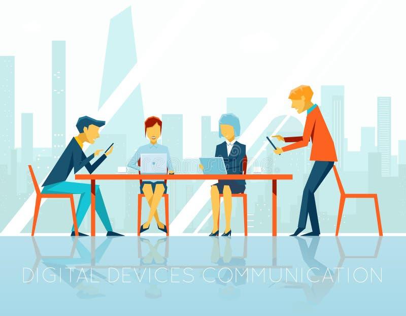 People digital devices communication stock illustration