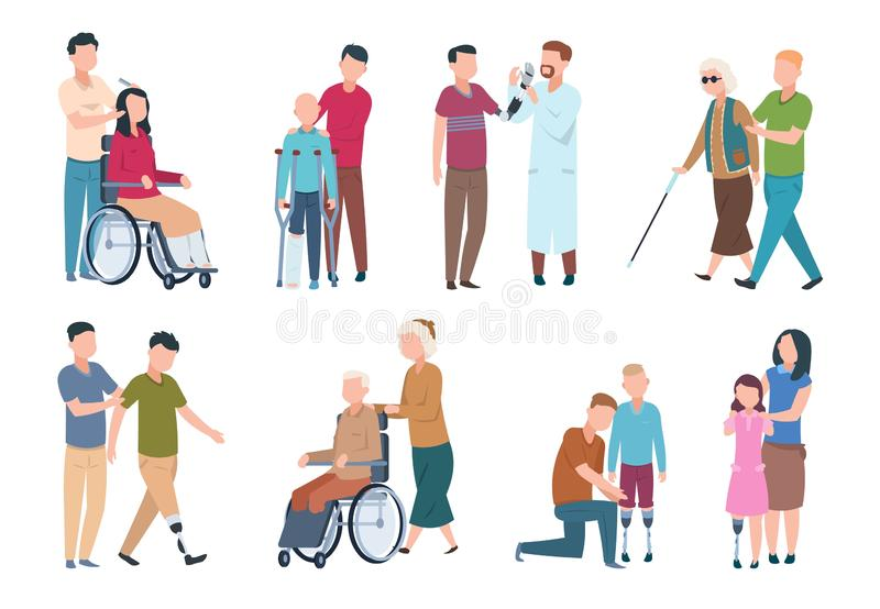 People with disabilities and friends. Disable persons in wheelchair with assistants. Happy disabled, handicapped stock illustration