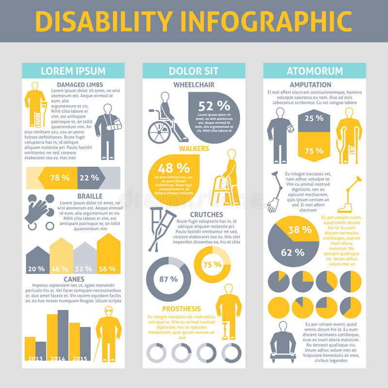 People With Disabilities Infographic Set. With crutches prosthesis and braille symbols flat vector illustration royalty free illustration