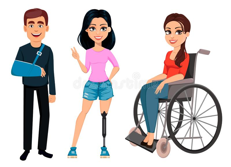 Man with broken arm, girl with artificial leg and girl in a wheelchair. People with disabilities. Men and women with incapability. Man with broken arm, girl vector illustration