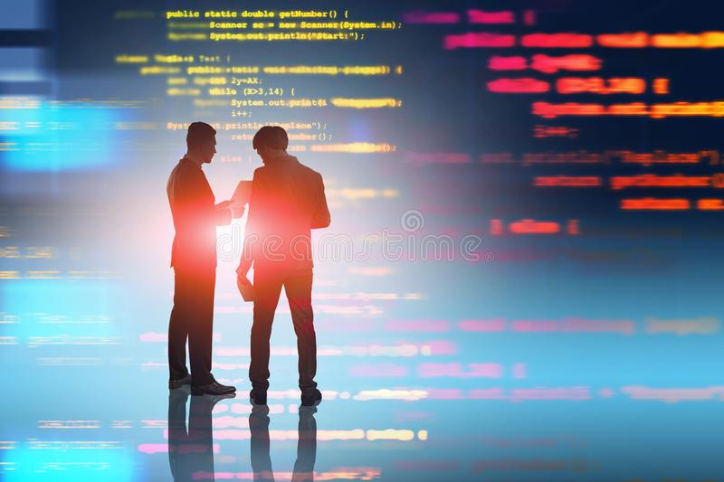 People discussing code. Technological startup. Two men in suits discussing documents over blurred background with lines of code. Concept of programming and vector illustration