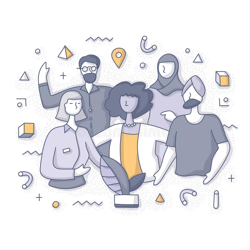 People Diversity Concept. Multicultural team. Diverse group on people stand together. Doodle  spot concept for website, applications or printed materials royalty free illustration