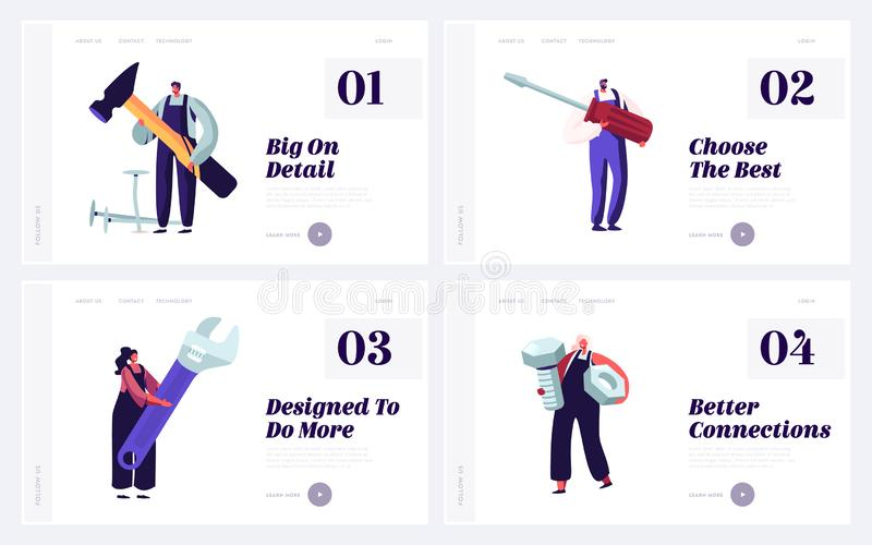 People with Diy Tools for Home or Technics Repair Website Landing Page Set. Architect Building Company Employees. Carpenters or Plumbers Service Web Page royalty free illustration