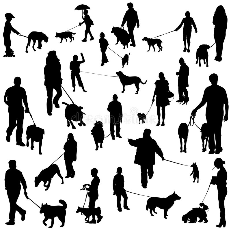 People with dogs stock illustration
