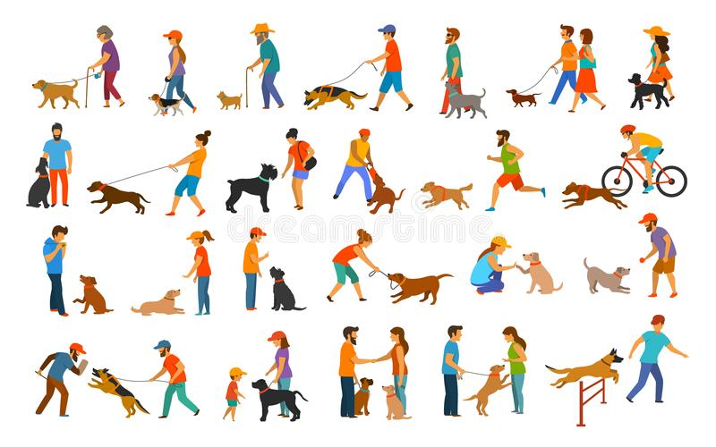 People with dogs graphic collection.man woman training their pets basic obedience commands. Like sit lay give paw walk close, exercising run jump barrier vector illustration