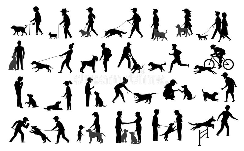 People with dogs silhouettes graphic set.man woman training their pets basic obedience commands like sit lay give paw walk close,. Exercising run jump barrier stock illustration