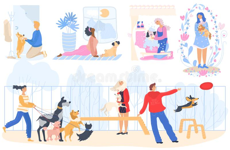 People with dogs vector woman washing cute pet and doing yoga. Man training and playing with doggy outdoor. Illustration royalty free stock images