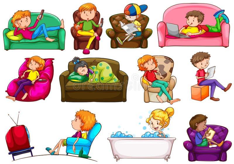 People doing different activities. Illustration stock illustration