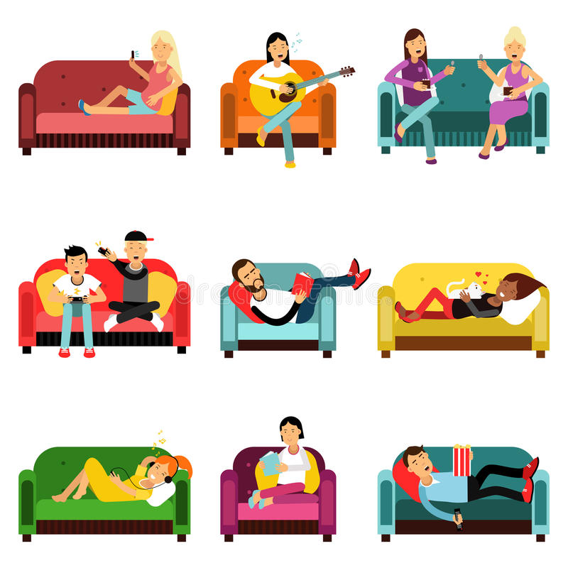 People doing different activities sitting on the couch set, cartoon characters vector Illustrations stock illustration