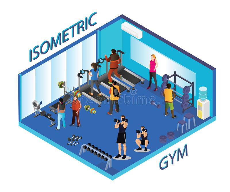 People doing exercise in gym, Isometric Artwork vector illustration