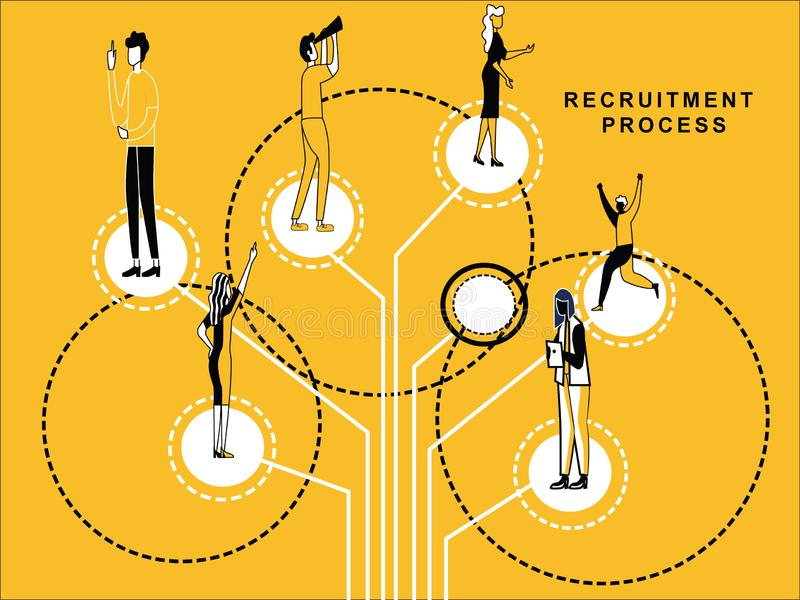 People doing things differently stock illustration