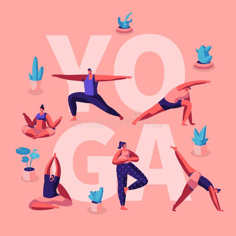 People Doing Yoga Exercises. Fitness Workout in Different Poses Stretching Sport Activities . Healthy Lifestyle, Leisure Concept. For Poster Banner Flyer stock illustration