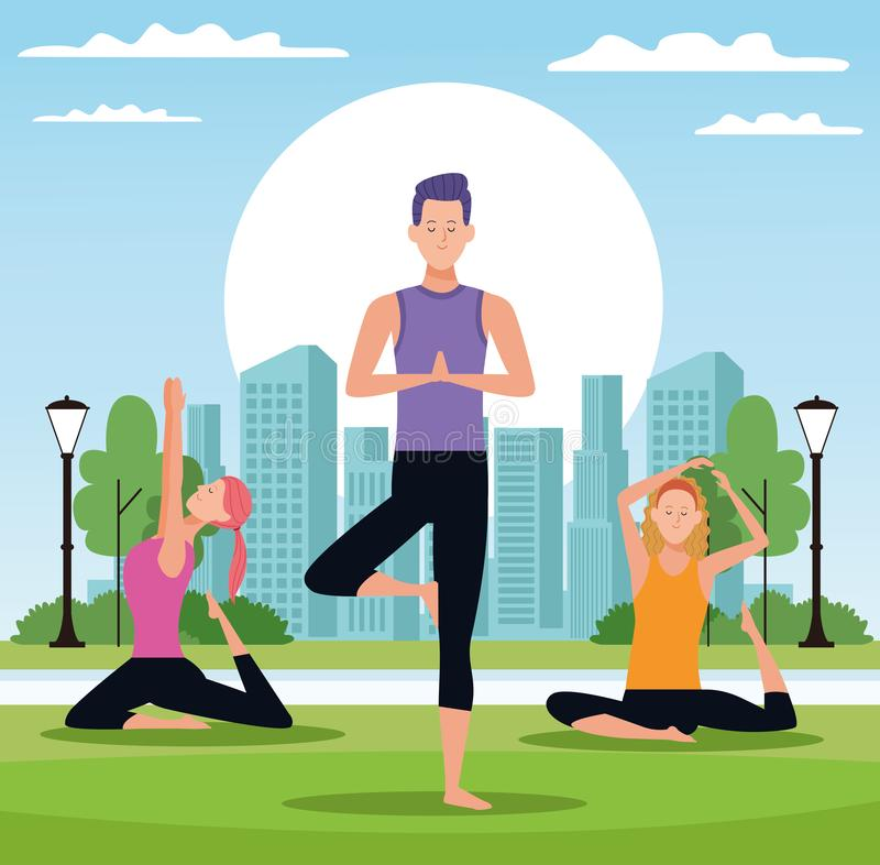 People doing yoga. With the rising sun in the park with cityscape vector illustration graphic design vector illustration