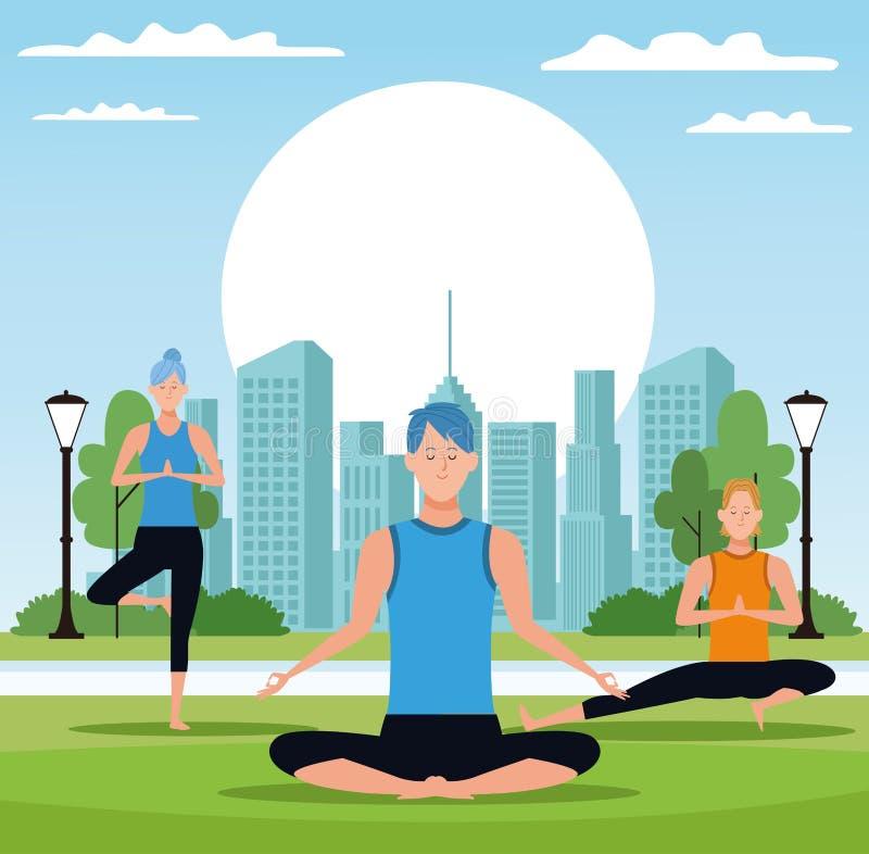 People doing yoga stock illustration
