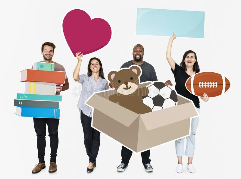 People donating stuffs to charity royalty free stock images