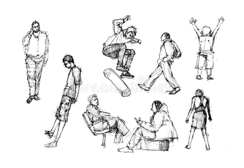 Line Art Action Photo : People drawing in action diversity stock illustration
