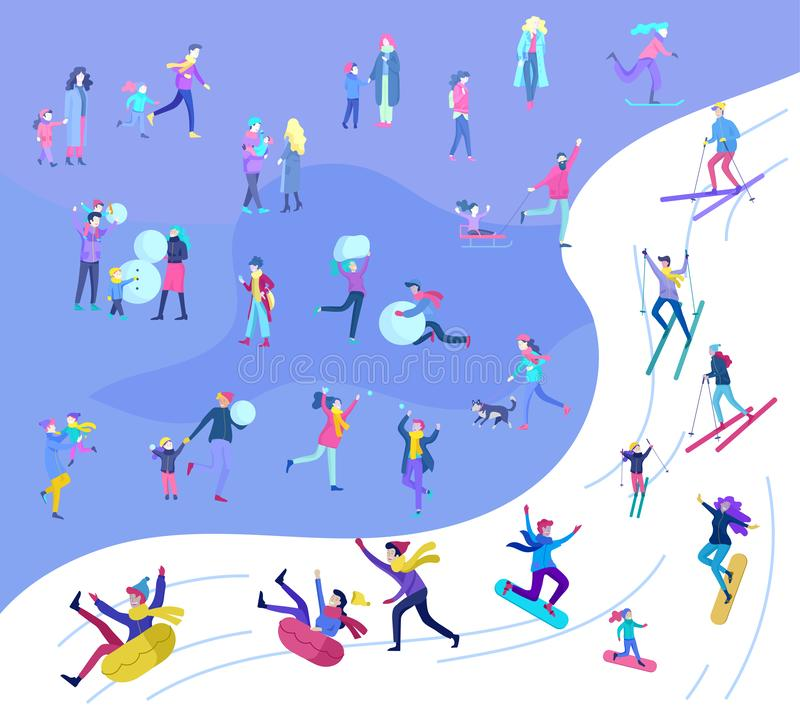 People dressed in winter clothes or outerwear performing outdoor activities fun. Snow festival, sledding and snowboard royalty free illustration