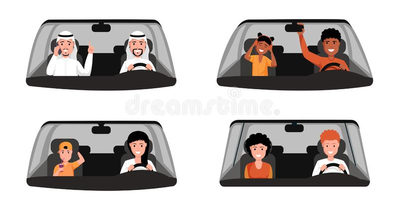 People driving car illustrations set. Arabic man wearing traditional clothing sitting at front seat of automobile royalty free illustration