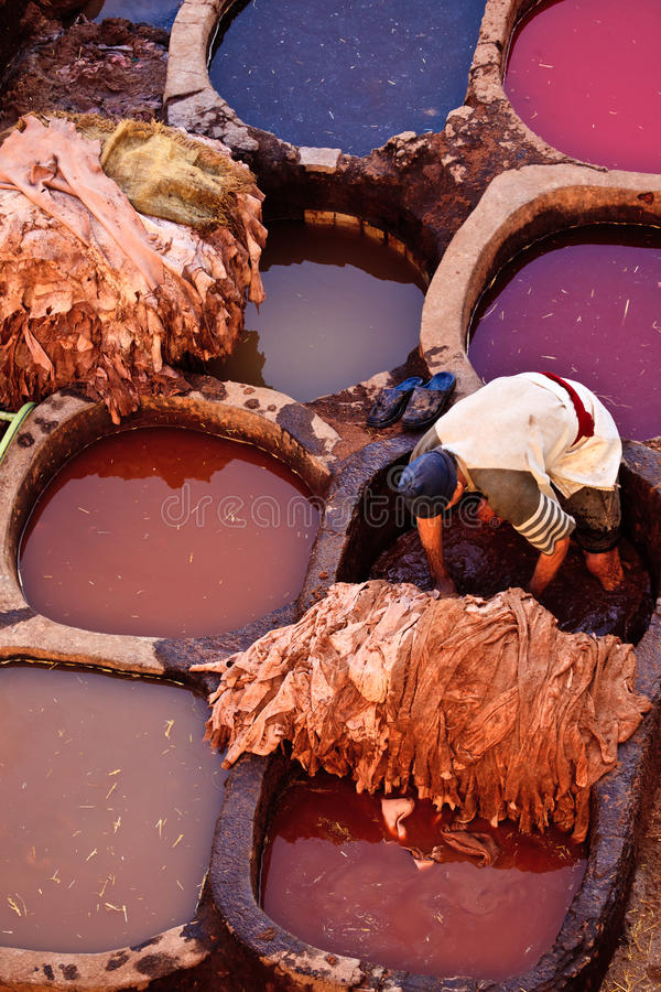 People dying hides at colorful tannery royalty free stock photo