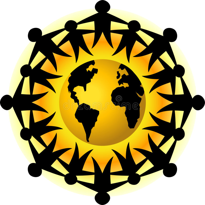 People of Earth Teamwork/eps. Illustration of people joined around the earth, symbolizing global brotherhood, cooperation teamwork, or unity