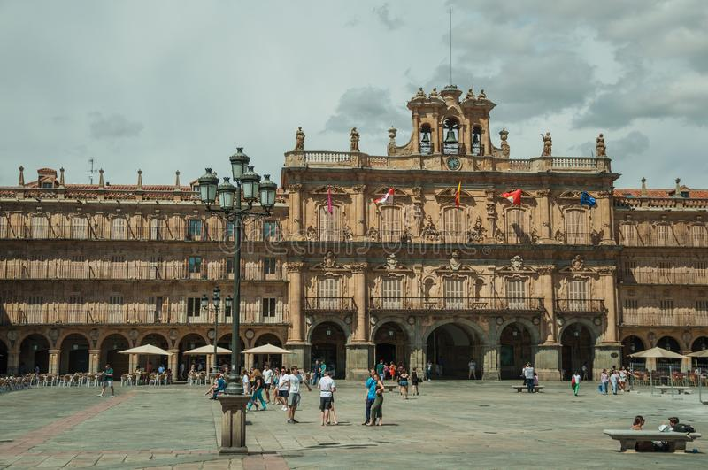 People and eateries at the Plaza Mayor in Salamanca royalty free stock photography